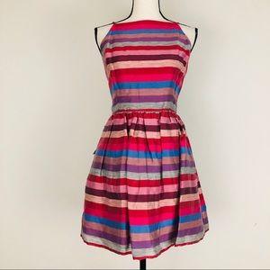 Bebe Stripe Mock Neck Fit & Flare Janice Dress